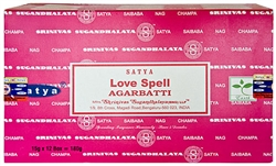 Wholesale Satya Love Spell Incense 15 Gram Packs (12/Box)