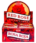 Wholesale Hem Red Rose Cones 10 Cones Pack (12/Box)