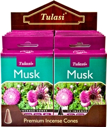 Wholesale Tulasi Musk Cones 15 Cones/Pack (12/Box)