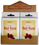 Wholesale Tulasi Red Rose Cones 15 Cones/Pack (12/Box)