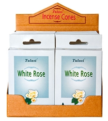 Wholesale Tulasi White Rose Cones 15 Cones/Pack (12/Box)