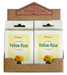 Wholesale Tulasi Yellow Rose Cones 15 Cones/Pack (12/Box)