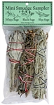 "Wholesale Mini Smudge Sampler 4""L (White Sage, Black Sage, Blue Sage)(Pack of 3)"