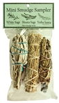 "Wholesale Mini Smudge Sampler 4""L  (White Sage,  Shasta Sage, Yerba Santa) (Pack of 3)"