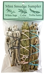 "Wholesale Mini Smudge Sampler 4""L  (White Sage, Cedar, Yerba Santa) (Pack of 3)"