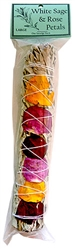 "Wholesale California White Sage with Rose Petals Smudge 9""L (Large)"