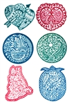"Wholesale Heena Tattoo Stencil Round 2.5""D (Set of 6)"