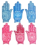 "Wholesale Heena Tattoo Stencil Hand 3.5""x7.5"" (Set of 6)"