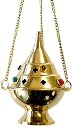 "Wholesale Brass Hanging Censer Burner With Beads 5""H"