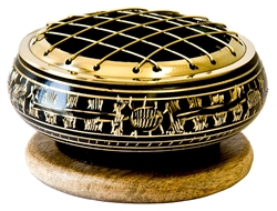 "Wholesale Brass Carved Screen Charcoal Burner 3""D"