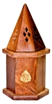 "Wholesale Wooden Temple Cone Burner 3""D, 6""H"