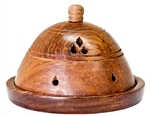 "Wholesale Wooden Dome Cone Burner 6""D, 4""H"