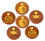 "Wholesale Wooden Burner Pentacle, Triple Moon, Yin Yang Cone & Stick 4""D (Set of 6)"