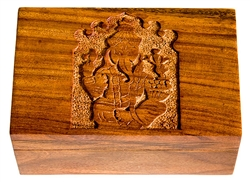 "Wholesale Wooden Ganesh Carved Box 4""x6"""