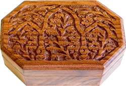 "Wholesale Wooden Floral Carved Hexagonal Box 4""x6"""