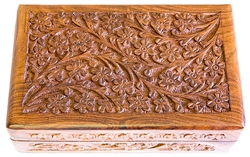 "Wholesale Wooden Floral Carved Box 5""x8"""