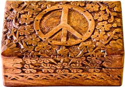 "Wholesale Wooden Peace Sign Carved Box 4""x 6"""