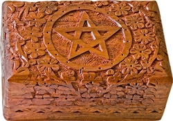 "Wholesale Wooden Pentacle Carved Box 4""x 6"""