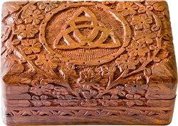 "Wholesale Wooden Triquetra Carved Box 4""x 6"""
