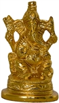 "Wholesale Lord Ganesh Gold Plated Brass Statue 2.5""H"