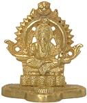 "Wholesale Lord Ganesh Gold Tone Brass Statue 3.75""H"