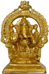 "Wholesale Lord Ganesh Gold Plated Brass Statue 4.5""H"