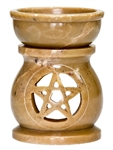 "Wholesale Natural Soapstone Pentacle Aroma Lamp 3.5""H"