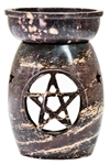 "Wholesale Natural Soapstone Pentacle Aroma Lamp 5""H"
