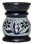 "Wholesale Black Soapstone Flower Carved Aroma Lamp 3.5""H"