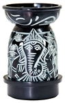 "Wholesale Black Soapstone Ganesh Carved Aroma Lamp 5""H"