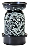 "Wholesale Black Soapstone Buddha Carved Aroma Lamp 5""H"