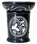 "Wholesale Black Soapstone Om Carved Aroma Lamp 4.5""H"