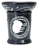 "Wholesale Black Soapstone Moon Carved Aroma Lamp 4.5""H"