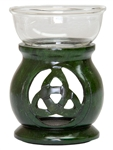 "Wholesale Green Soapstone Triquetra Aroma Lamp 3.5""H"