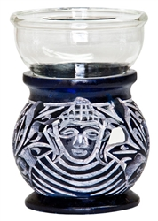 "Wholesale Blue Soapstone Buddha Carved Aroma Lamp 3.5""H"