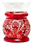 "Wholesale Red Soapstone Ganesh Carved Aroma Lamp 4""H"