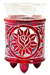 "Wholesale Red Soapstone Flower Carved Aroma Lamp 4.5""H"