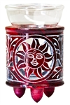 "Wholesale Red Soapstone Sun Carved Aroma Lamp 4.5""H"