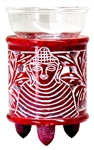 "Wholesale Red Soapstone Buddha Carved Aroma Lamp 4.5""H"