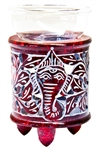"Wholesale Red Soapstone Ganesh Carved Aroma Lamp 4.5""H"