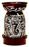 "Wholesale Brown Soapstone Ganesh Carved Aroma Lamp 5""H"