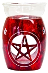"Wholesale Red Soapstone Pentacle Aroma Lamp 5""H"