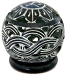 "Wholesale Black Soapstone Globe Weave Candle Burner 3""H"