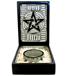 "Wholesale Black Soapstone Pentacle Candle Burner 5.5""x3.5""x5"""