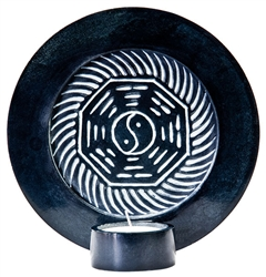 "Wholesale Black Soapstone Yin Yang Candle Burner 6""D"