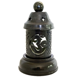 "Wholesale Black Soapstone Om Candle Burner 6.5""H"