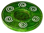 "Wholesale Green Soapstone Spiral Candle Burner 4""D"