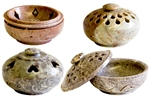 "Wholesale Natural Soapstone Box Incense Burner 3""D (Set of 4)"