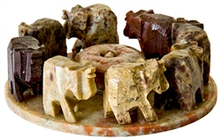 "Wholesale Natural Soapstone Elephant Circle Incense Burner 4""D"