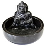 "Wholesale Black Soapstone Buddha Incense Burner 4""D, 3""H"
